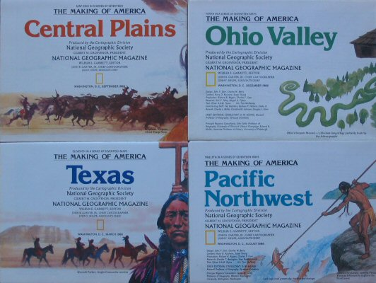 The Making of America #9-12: Central Plains, Ohio Valley, Texas, Pacific Northwest (National Geographic 4 Map Set)