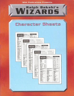 Ralph Bakshi's Wizards Character Sheets